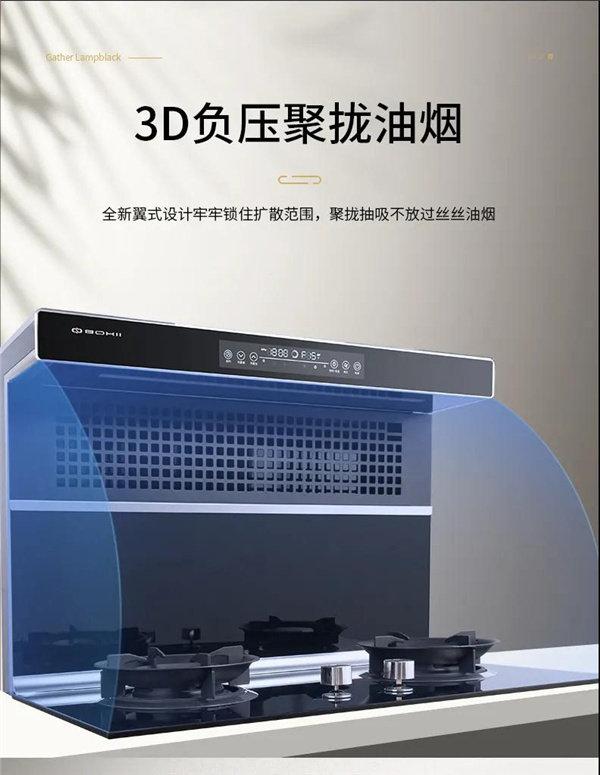 3D负压聚拢油烟