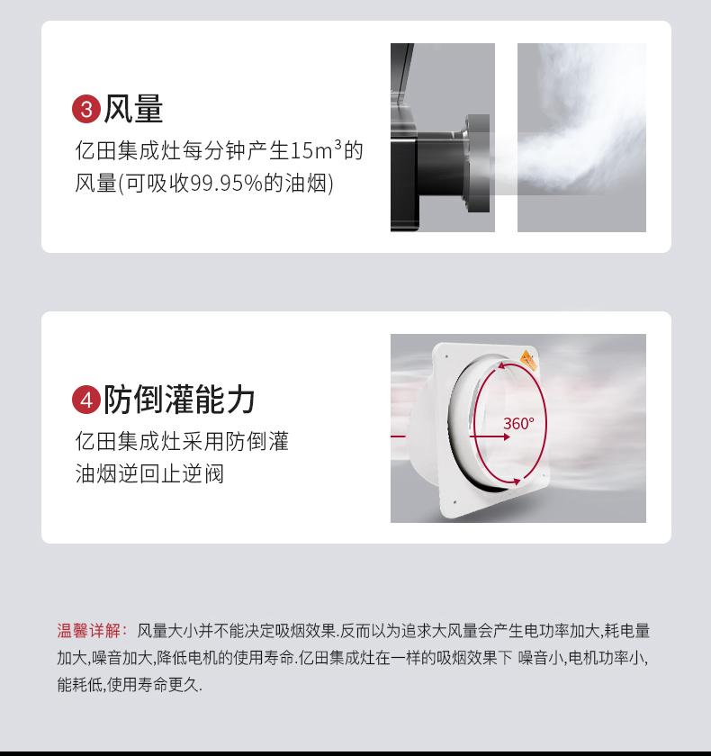 亿田D8GX家用集成灶风量及防倒灌能力