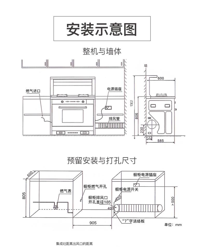 美大MJ-ZP00集成灶蒸箱款安装示意图